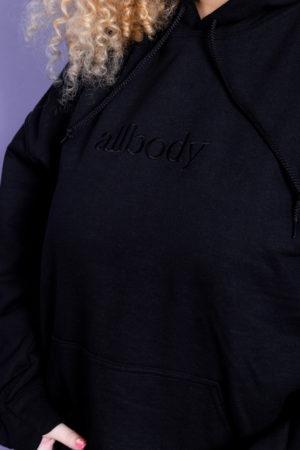 Girl wearing black hoodie